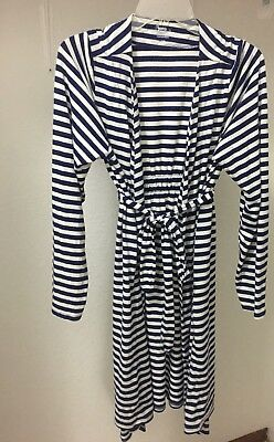 Bump In The Night Maternity Robe Blue White Stripe Size Large