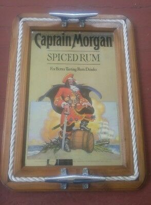 "Captain Morgan Spiced Rum Mancave Bar Mirror 15 3/4"" X 21 1/2"" Server Tray"