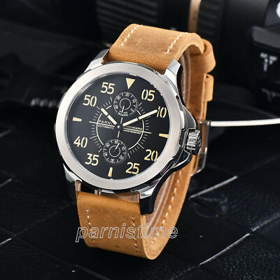 44mm Parnis Power Reserve Automatic Movement Men Mechanical Watch Sapphire Glass