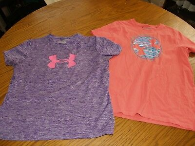 LOT OF 2~GIRLS~UNDER ARMOUR~T Shirts~TOPS~SZ XL~S/S~YOUTH~POLYESTER~COTTON