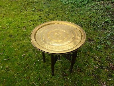 Antique Indian Brass Table With Two Brass Tops