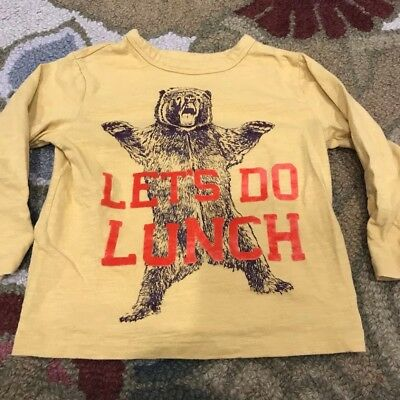 "BabyGap Mustard Yellow ""Let's Do Lunch"" Bear Long Sleeve Tee  Size 3T"