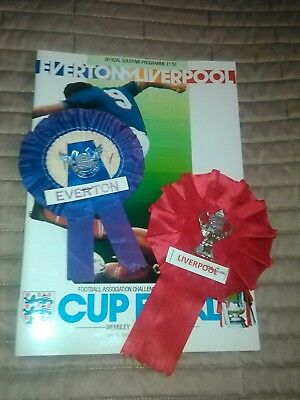 Everton v Liverpool FA Cup Final 10/5/1986 IMMACULATE + 2 ROSETTES
