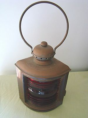 Antique Brass Ship Lantern Young's Night Light With Red Fresnel Lens