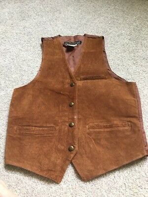 "Leather Vest Zippered Snap Buttons Nylon Back ""Don't Stop Classics"" Size Medium"