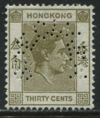 Hong Kong KGVI 1938 30 cents olive bister perforated SPECIMEN