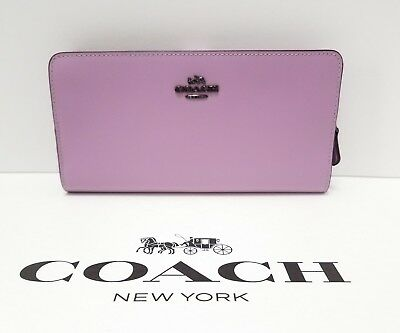 Coach 58586 Smooth Leather Skinny Wallet ID window Lily Lilac Purple