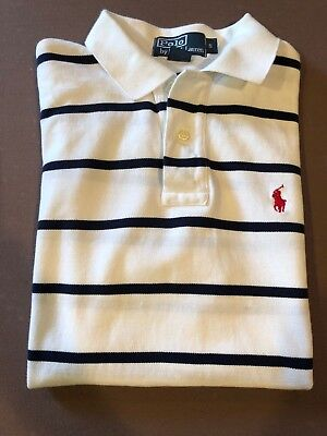 Back to School! POLO by RALPH LAUREN White with Navy Stripes, NICE Shirt small
