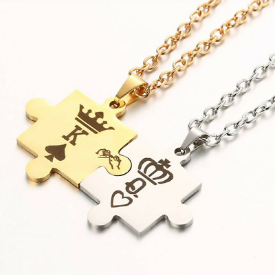 New Stainless Steel His Queen and Her King Promise Matching Love Couple Necklace