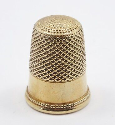 HEAVY ANTIQUE 14K SOLID YELLOW GOLD THIMBLE / NO MONOGRAM - 8.7g / 24mm