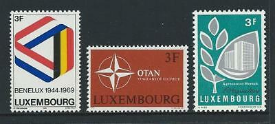 1969 LUXEMBOURG Customs Union, NATO & Agriculture Issues MNH (Scott 480-482)