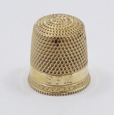 ANTIQUE VICTORIAN 14K SOLID YELLOW GOLD THIMBLE GADROON EDGE SIZE 7 - 2.6g 16mm