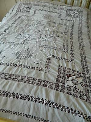 "Antique white Irish linen bedspread hand embroidery & Tenerife lace 68"" x 102"""