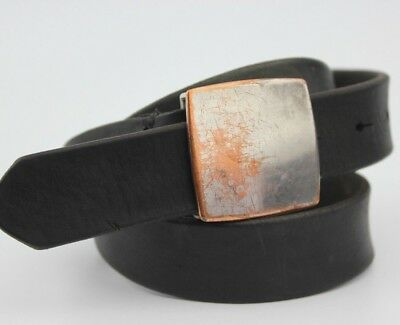 """Vintage Retro Black Real Leather Thick Belt 29mm Wide Fits 28-31"""""""