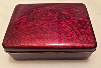 Pigeon Blood Japanese Cloisonne Box w/ Lid Humidor Red Ginbari Style