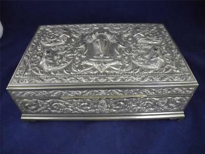 Large Antique Silver Oriental Hindu Ornate Box Elephants, Figurines, Wood Lining