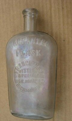 Richmond Va Franciones Oysters Specialty East Broad St Whiskey Bottle Flask