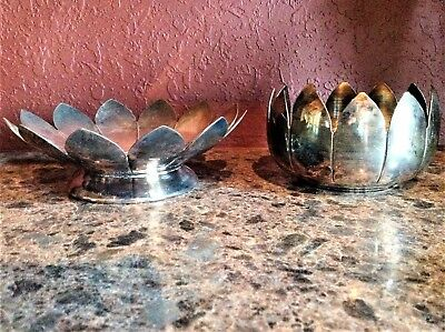 "Bernard Silverplated 7"" Dia. Lotus Flower Shaped Candy/Nut Dish"