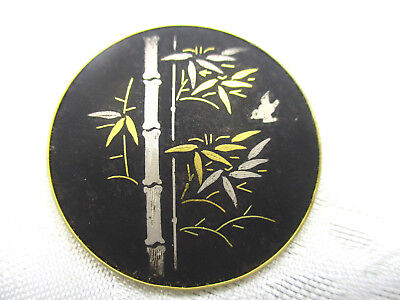 Vintage Estate Jewelry Gold Silver Signed Amita Japan Bamboo Bird Brooch Pin