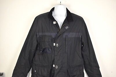 Barbour Masthead Jacket Men's Large Waxed Cotton Tartan Lining Lobster Clips