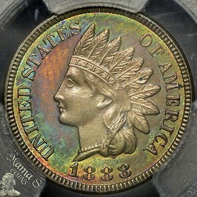 1888 1C PCGS PR-64 BN PF Proof Indian Head Cent Penny US Coin Rainbow TONING