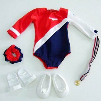 """Red, White and Blue Gymnastics 5pc Set Fits 18"""" American Girl Doll"""