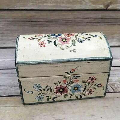 Vintage Peru Hand Painted Wood Floral Trinket or Jewelry Box