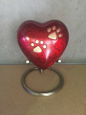 Pet Urn Dog Cat Jar Heart Funeral Cremation Ashes Brass Animal Beloved