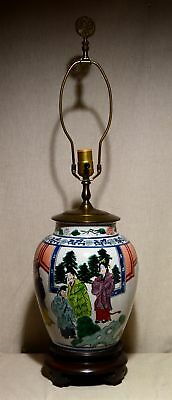 "Antique Chinese Export Famille Verte 30 3/4"" Hp Pottery Vase/jar Lamp, Emperor"