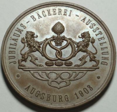 1903 AUGSBURG GERMANY Nice PRIZE or AWARD MEDAL With LION Supported PRETZEL ARMS