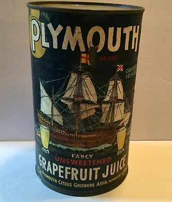 Vintage Juice Can Florida Advertising General Store Old Plymouth Ship Boat Nice