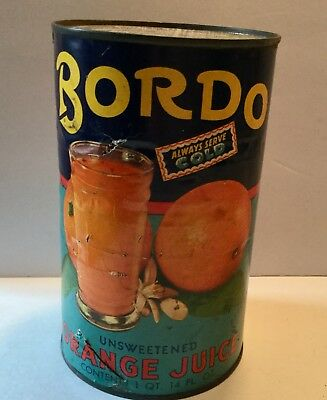 Vintage Juice Can Advertising General Store Old Orange Bordo Chicago