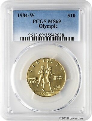 1984-W $10 Olympic Gold Commemorative PCGS MS69