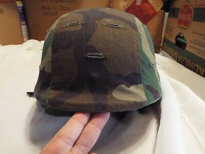 Authentic Military Helmet Made with Kevlar, with Camo Cover and Chin Strap