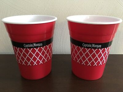 Brand New Captain Morgain Red Hard Plastic Cups! RARE! Set Of 6!