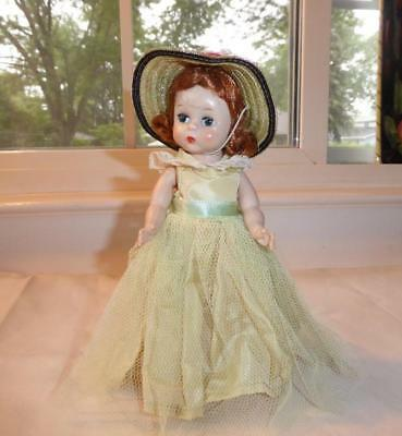 """VINTAGE 1950's MADAME ALEXANDER- KINS  RED HAIR DOLL YELLOW DRESS & HAT  7"""""""
