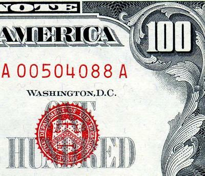 HGR SUNDAY 1966 $100 U.S. Note ((RED Seal)) Appears GEM+ UNCIRCULATED