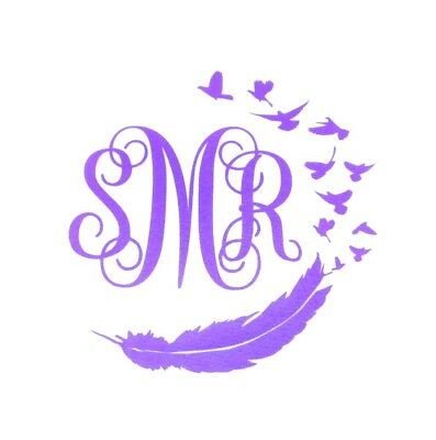 "DIY 5"" Iron On Vinyl Script Monogram Feather and Birds U Pick Color SHIPS FREE!"