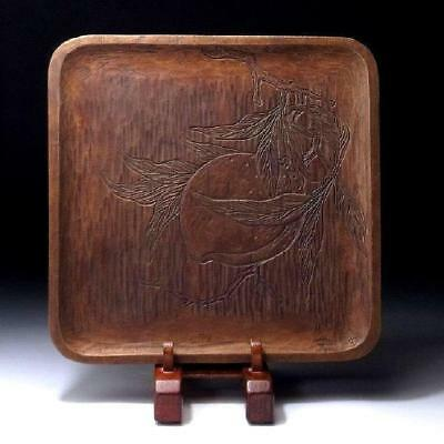 JR4: Japanese Hand Woodcarving Tray, Tea ceremony, Natural wood, Peach
