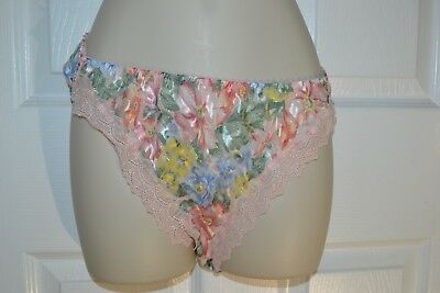 Victorias secret vintage satin panties 7 new nwt gold crown shimmer pink floral