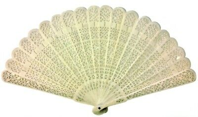 Antique Chinese Filigree Fan Qing Court 19thc Hand Carved Thin Bone Bovine WOW!!