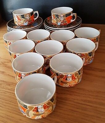 Vintage Japanese Satsuma Eggshell Porcelain 12 x Cups and Saucers