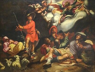 Huge 16th Century Dutch Old Master Annunciation Of The Shepherds Oil Painting