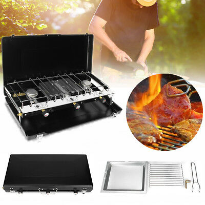 Portable Tabletop BBQ Gas Stove Grill Cooker Dual Burner Heater Outdoor Camping