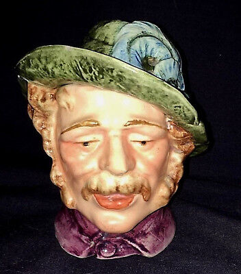 Antique Majolica Hand Painted Tyrolean Man Tobacco Jar Humidor Circa 1900