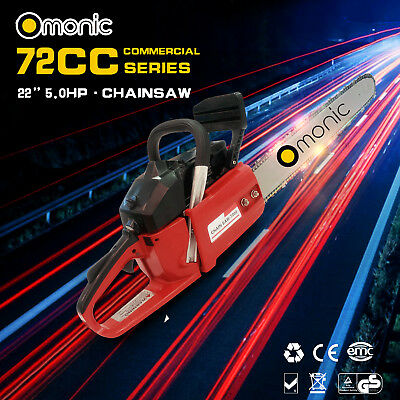 "Omonic 72cc Petrol Commercial Chainsaw 22"" Bar Chain Saw 2-Stroke Tree Pruning D"