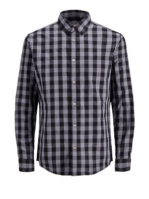 Jack&Jones Mens Check Long Sleeved Casual Cotton Shirt Grey (12136987)
