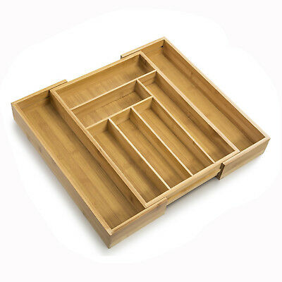 2018 Bamboo Expandable Cutlery Tray & Drawer Organizer with 8 Compartments US