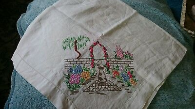 Very Pretty Vintage Floral Hand Embroidered Med. Square Cream Cotton Tablecloth