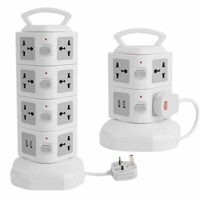 2/4 Layer Power Strip Extension Lead USB Ports Tower Multi Socket Plug Charger
